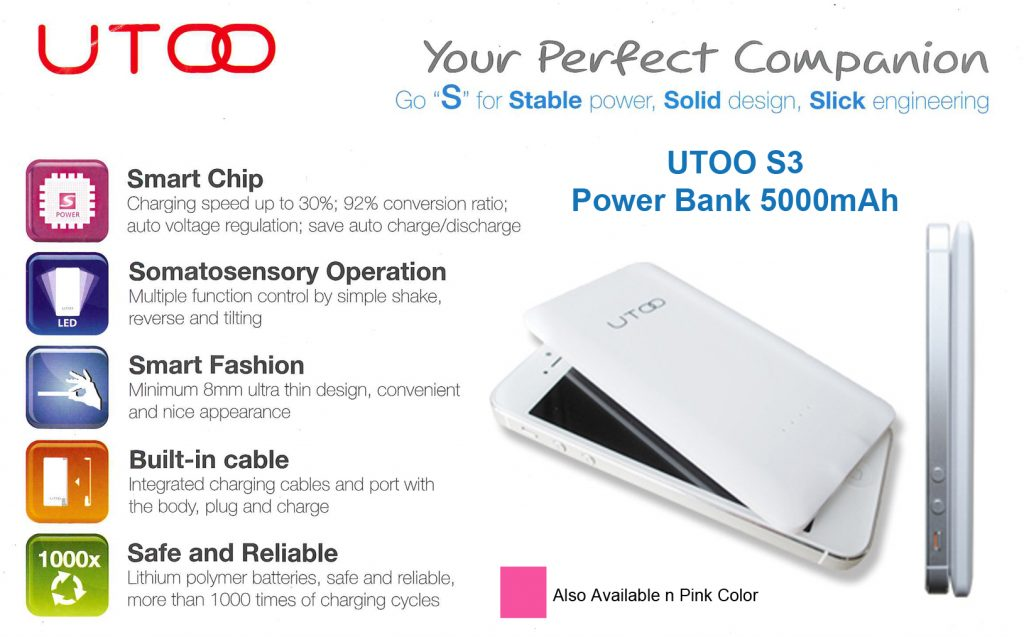 Appointed Distributor for UTOO powerbank 1