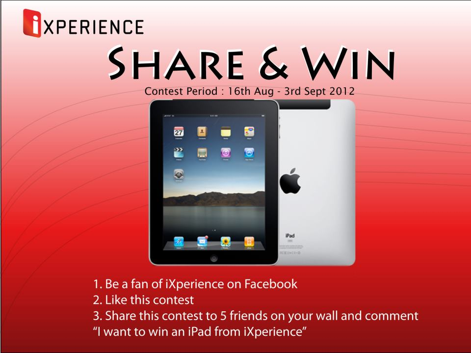 "Congrats to iXperience ""Share and Win"" contest winner 1"