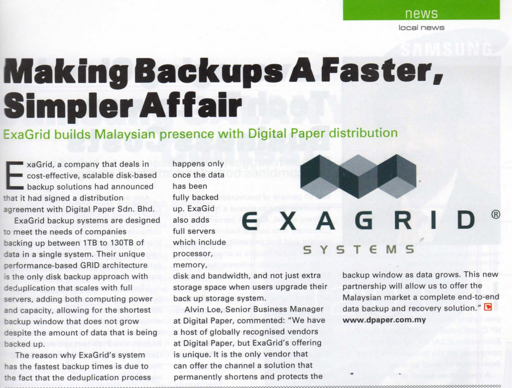Exagrid builds Malaysian presence with Digital Paper distribution 1