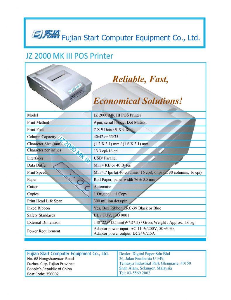 Fujian JZ 2000 MK III POS Printer 1