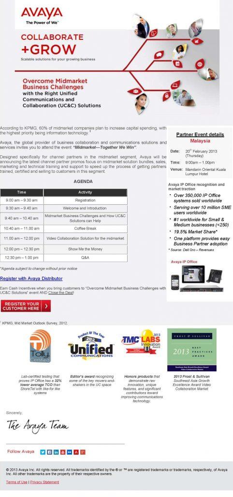 Invitation for Avaya Partners 1