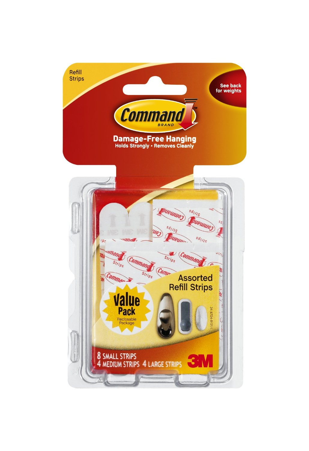 3m Command 17200cl Assorted Mounting Refill Strips 8